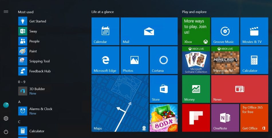 Windows 10 ще има ново старт меню в Anniversary Update 4