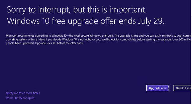 Последният напън за ъпгрейд към Windows 10 носи мрънкане в пълен екран 4