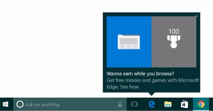 Майкрософт започнаха да показват реклами за браузъра Edge в Windows 10 7