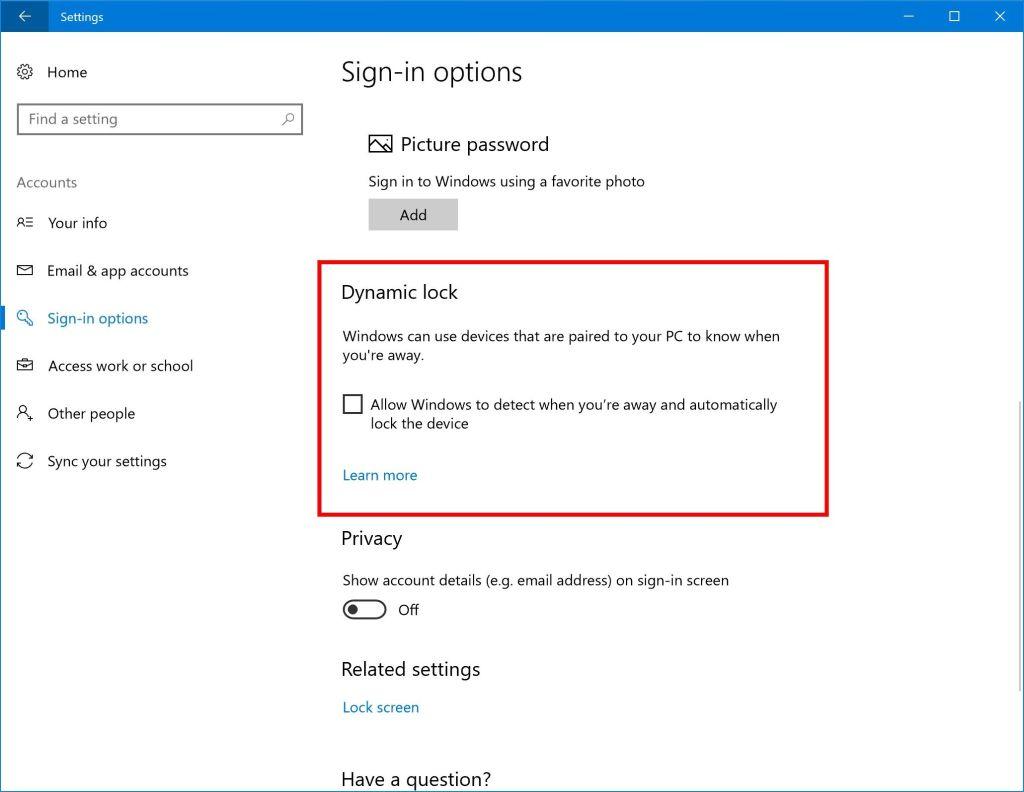 Windows 10 може да заключва екрана, когато станете от бюрото 4