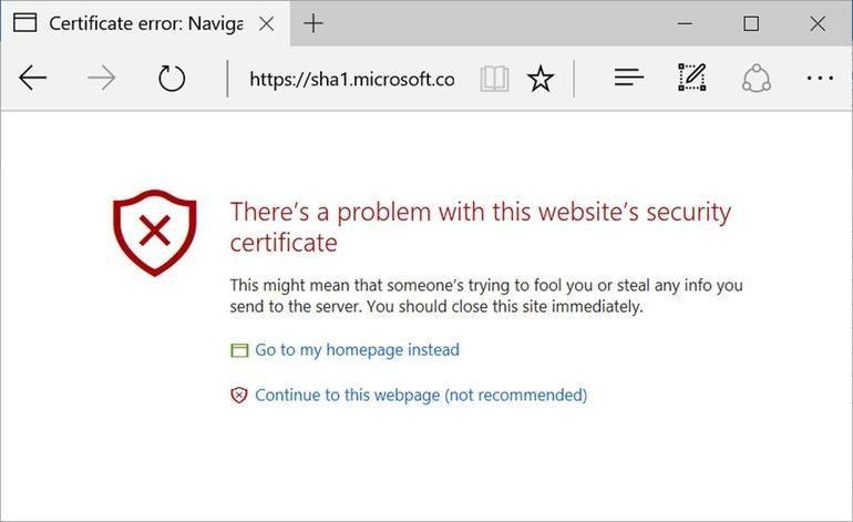 Microsoft Edge вече блокира сайтове със SHA-1 сертификат 4