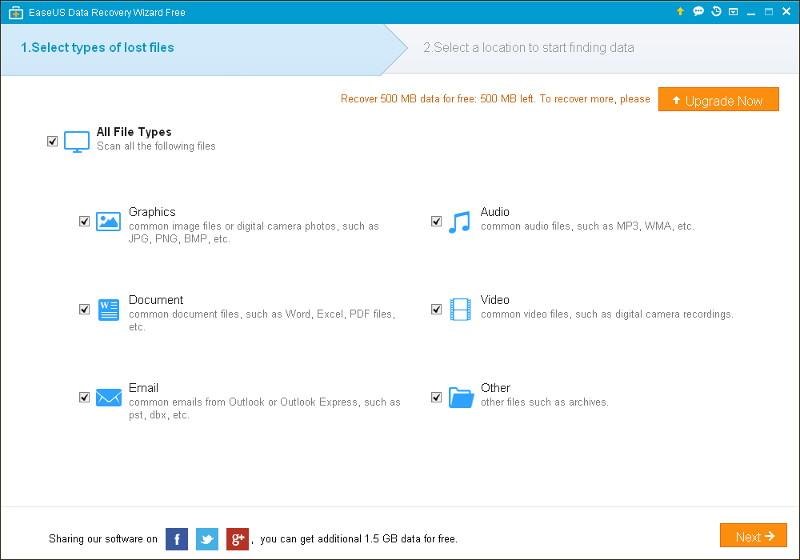 Възстановяване на изтрити файлове с EASEUS Data Recovery Wizard Free 1