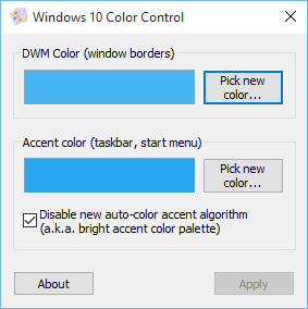 Windows 10 Color Control